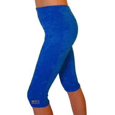 Capri / 3/4 Leggings, aus Knittersamt, royal – Bild 1
