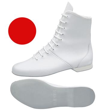 roter Garde-Stiefel / Mariechen-Stiefel  Ballenpartie Leder / Gummiabsatz überzogen