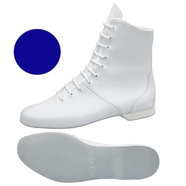 blauer Garde-Stiefel / Mariechen-Stiefel  Ballenpartie Leder / Gummiabsatz überzogen