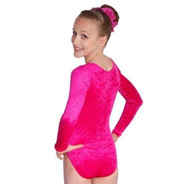 Gymnastikanzug Knittersamt pink, ovaler Ausschnitt, langarm – Bild 2