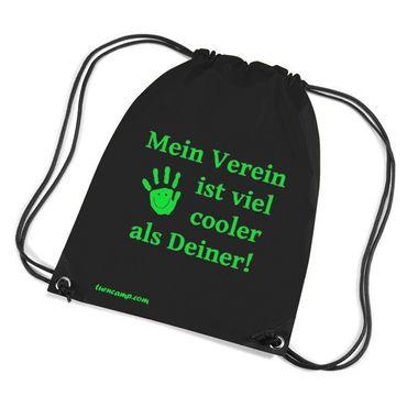 Turnbeutel »Mein Verein ist viel cooler ...«, schwarz mit Aufdruck in neon grün