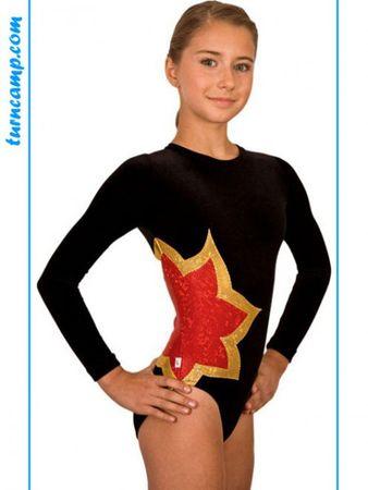 Turnanzug Samt langarm / Gymnastikanzug Modell »Laura« (schwarz/rot/gold) – Bild 1