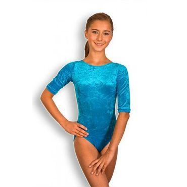 Turnanzug / Gymnastikanzug ovaler Ausschnitt, halber Arm, türkis, Knittersamt – Bild 1