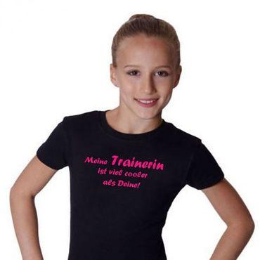 T-Shirt, »Meine Trainerin ist viel cooler ...« (schwarz/pink)