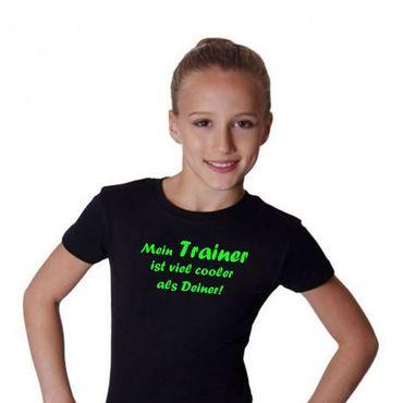T-Shirt, »Mein Trainer ist viel cooler ...« (schwarz/neon grün)