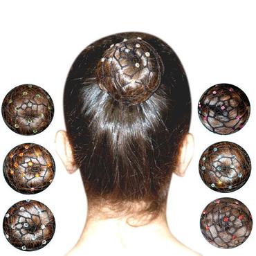 schwarzes Haarnetz mit Strasssteinen