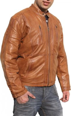 Men Leather Jacket, Fashion Sheep Skin Lamb Nappa-Leather,Color: Brown – image 3
