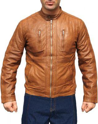Men Leather Jacket, Fashion Sheep Skin Lamb Nappa-Leather,Color: Brown – image 1
