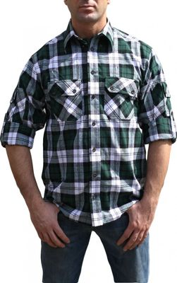 Hunting Shirt Cotton Blended, Color:Green/Checkered – image 2