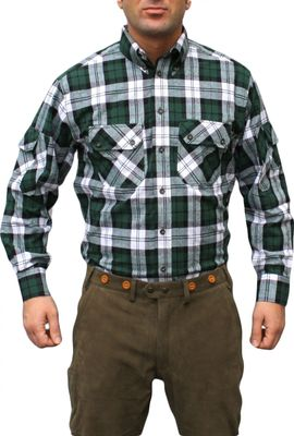 Hunting Shirt Cotton Blended, Color:Green/Checkered – image 1