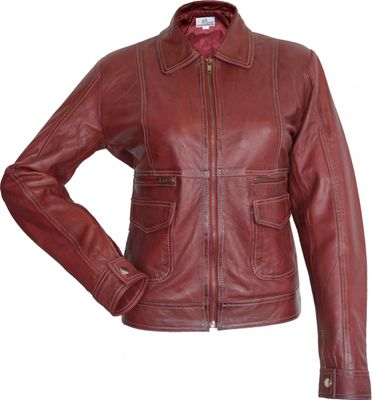 Ladies Leather jacket fashion Sheepskin lamb Nappa-leather Red – image 1