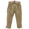 knee lenght pants/ breeches made of Suede Leather with Suspenders,color: Beige