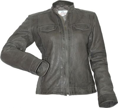 Ladies Leather jacket fashion lamb Nappa-leather,color: Grey – image 1