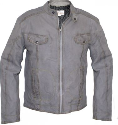 Men Leather jacket fashion sheepskin lamb Nappa-leather,color: Grey – image 1