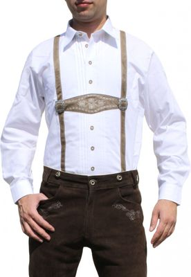 Traditional Bavarian Shirt for lederhosen/Oktoberfest with Decorations,color: white – image 1