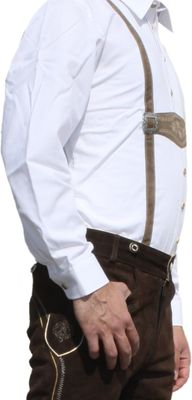 Traditional Bavarian Shirt for lederhosen/Oktoberfest with Decorations,color: white – image 3