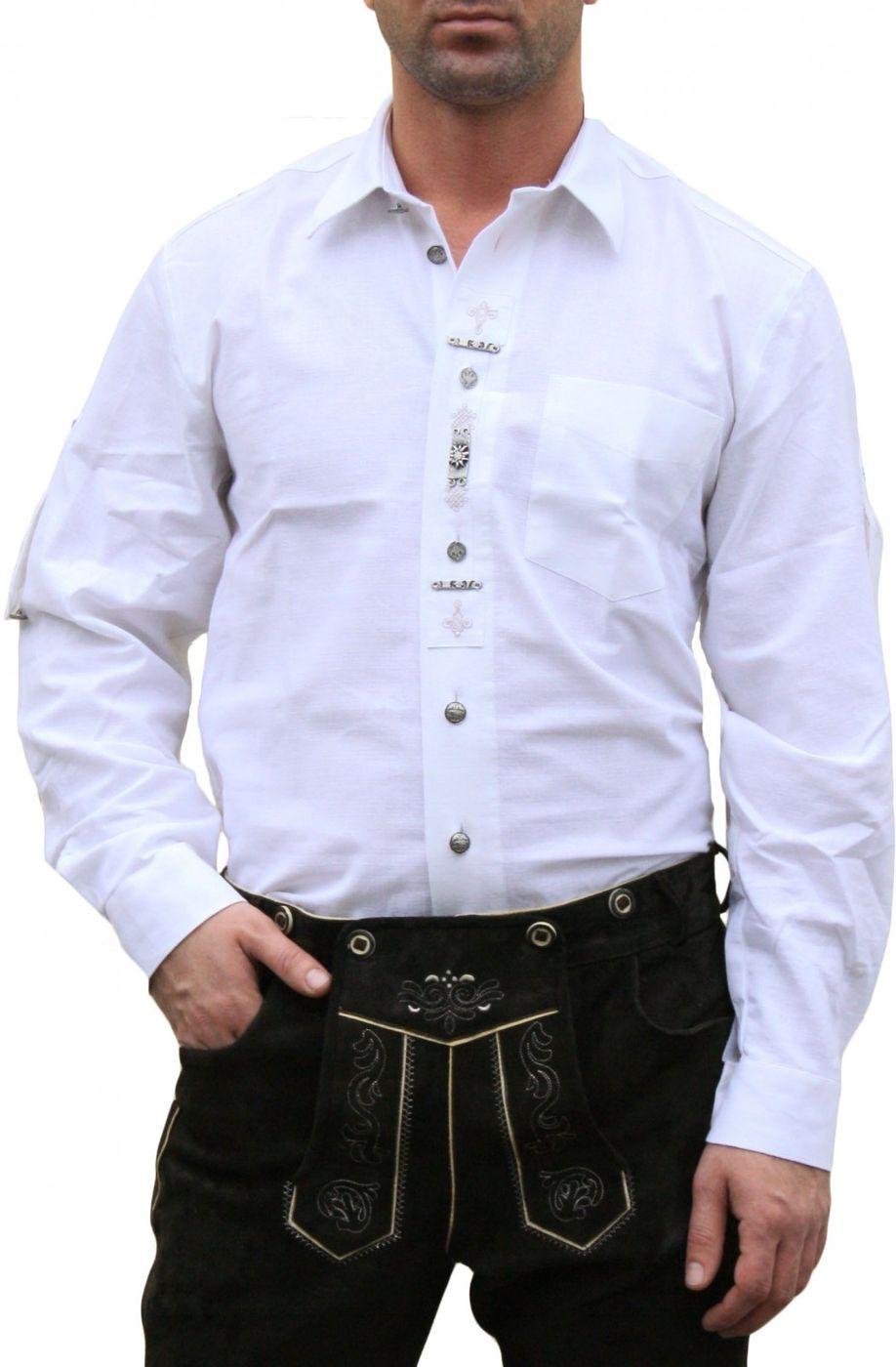 German Wear, Trachtenhemd hemd für Lederhosen mit Verzierung weiß