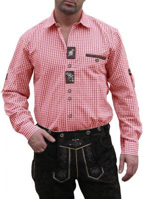 German Wear, Trachtenhemd für Lederhosen mit Verzierung rot/kariert