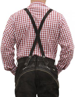 Trachtenshirt for Lederhosen with Decorations,color: Red/checkered – image 2