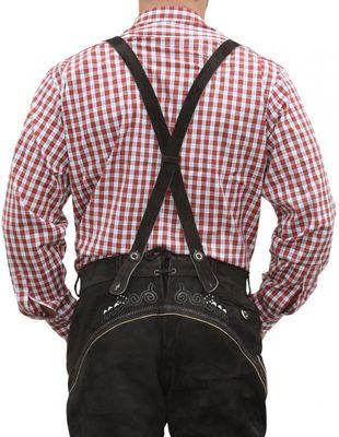 German Wear, Trachtenhemd für Lederhosen mit Verzierung rot/kariert – Bild 2