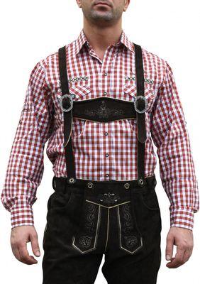German Wear, Trachtenhemd für Lederhosen mit Verzierung rot/kariert – Bild 1
