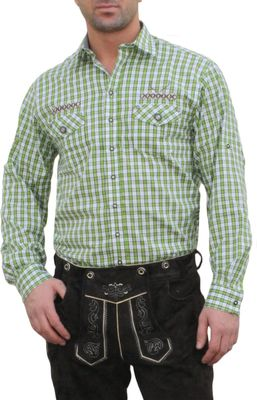 Trachtenshirt for Lederhosen with Decorations,color: Green/checkered – image 1