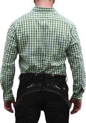 German Wear, Trachtenhemd für Lederhosen mit Verzierung grün/kariert – Bild 2