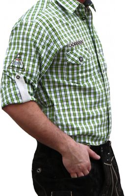 Trachtenshirt for Lederhosen with Decorations,color: Green/checkered – image 3