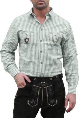 Traditional Bavarian Shirt for lederhosen/Oktoberfest with Decorations,color: Green/striped – image 1