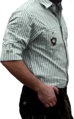 Traditional Bavarian Shirt for lederhosen/Oktoberfest with Decorations,color: Green/striped – image 3