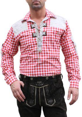German Wear, Trachtenhemd für Trachten Lederhosen mit Verzierung rot/kariert – Bild 1