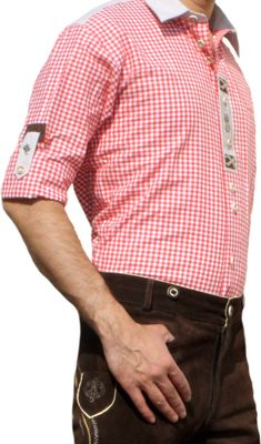 Trachtenshirt for Lederhosen with Decorations red/checkered – image 3