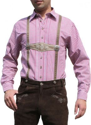 Trachtenshirt for Lederhosen with Decorations red/checkered