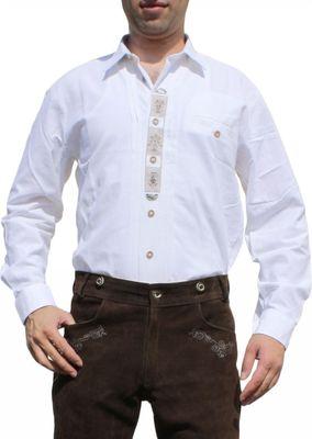 German Wear, Trachtenhemd für Lederhosen mit Verzierung weiß – Bild 1