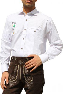 Bayerisches Trachtenhemd für Trachten lederhosen Trachtenmode Weiß – Bild 1