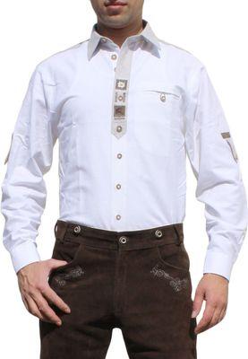 Trachtenshirt for Lederhosen with Decorations white