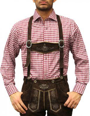 Trachtenhemd für Trachlederhosen Trachtenmode Oktoberfest Beere/karo – Bild 1