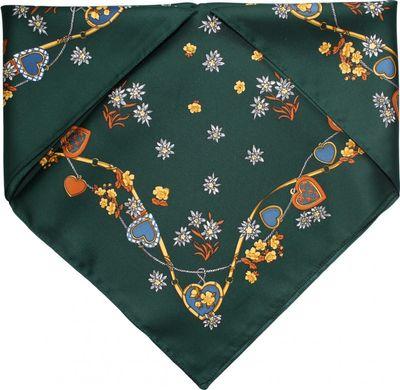 Scarf Trachtenscarf Heart Design 53x53cm dark green – image 1
