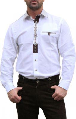 German Wear, Trachtenhemd für Trachten Lederhosen mit Verzierung Trachtenmode wiesn weiß