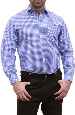 Trachtenhemd für Lederhosen mit Verzierung dunkelblau/kariert