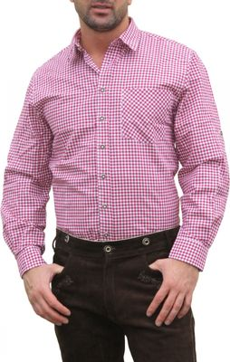 Trachtenshirt for Lederhosen with Decorations vinered/checkered – image 1