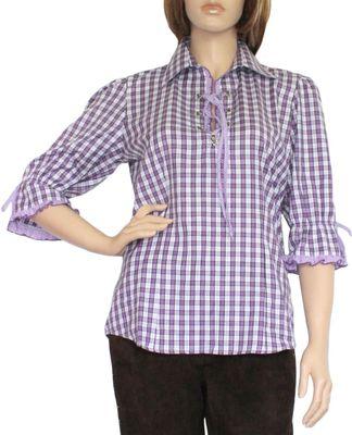 Trachtenbluse Damen Trachten lederhosen-bluse Trachtenmode aubergine kariert – Bild 1