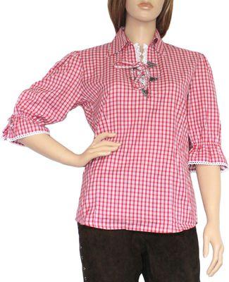 Trachtenbluse Damen Trachten lederhosen-bluse Trachtenmode ROT kariert – Bild 1