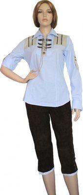 Trachtenbluse Damen Trachten lederhosen-bluse Trachtenmode hellblau kariert – Bild 2