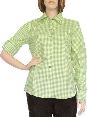 Traditional Bavarian Blouse, Trachten blouse, colour: Green/checkered