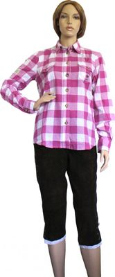 Traditional Bavarian Blouse, Trachten blouse, colour: Red/checkered – image 2