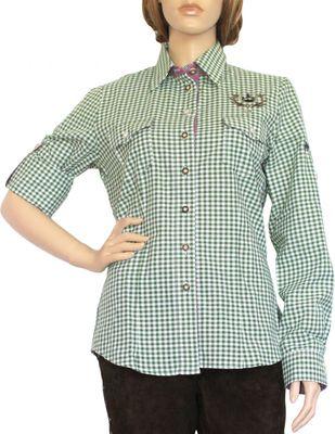 Trachtenbluse Damen Trachten lederhosen-bluse Trachtenmode grün kariert – Bild 1