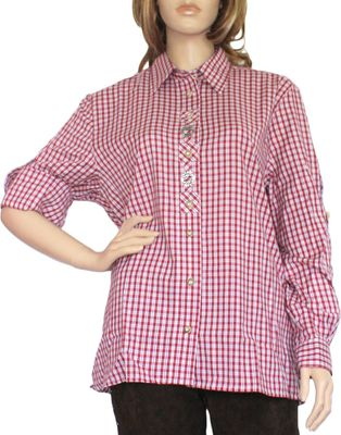 Traditional Bavarian Blouse, Trachten blouse, colour: Red/checkered – image 1