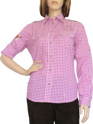 Traditional Bavarian Blouse, Trachten blouse, colour: Redcheckered – image 1