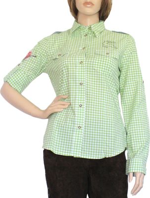 Traditional Bavarian Blouse, Trachten blouse, colour: Green/checkered – image 1